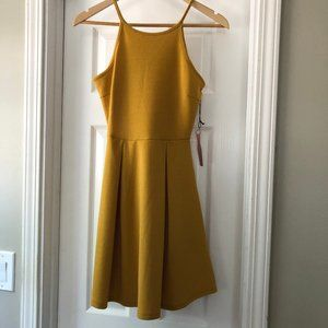 Mustard Dress Sleeveless High Neck Fit and Flare S